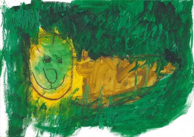 緑の中のライオン